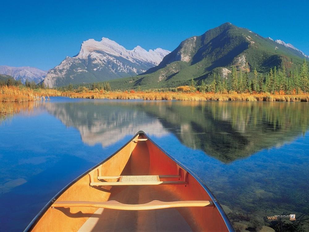 Mountains Boat Canoe Peaceful Ride Travels Reflection Lake Mobile Wallpaper